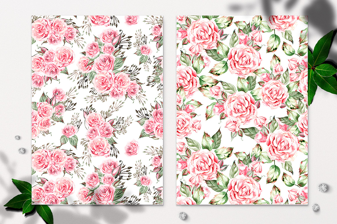 Hand Drawn Watercolor Roses & Cotton