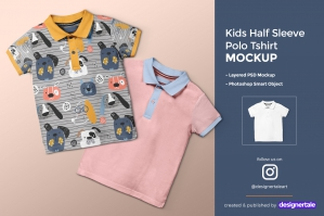 Kid's Half Sleeve Polo T-Shirt Mockup