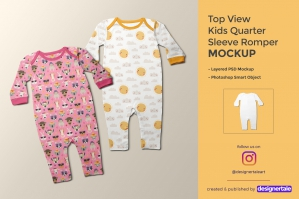 Kids Quarter Sleeve Romper Mockup