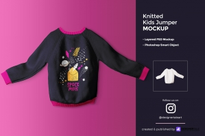 Knitted Kids Jumper Mockup