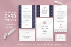 Navy & Pink Wedding Templates Suite