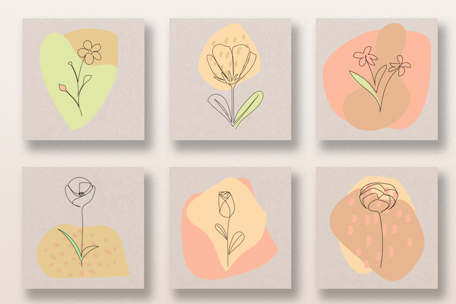 One Line Flowers & Abstract Shapes Vector Clip Art