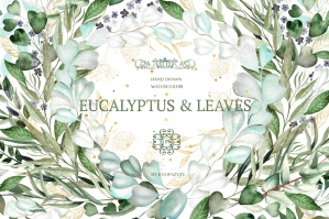 Free: Set of Watercolor Eucalyptus & Leaves