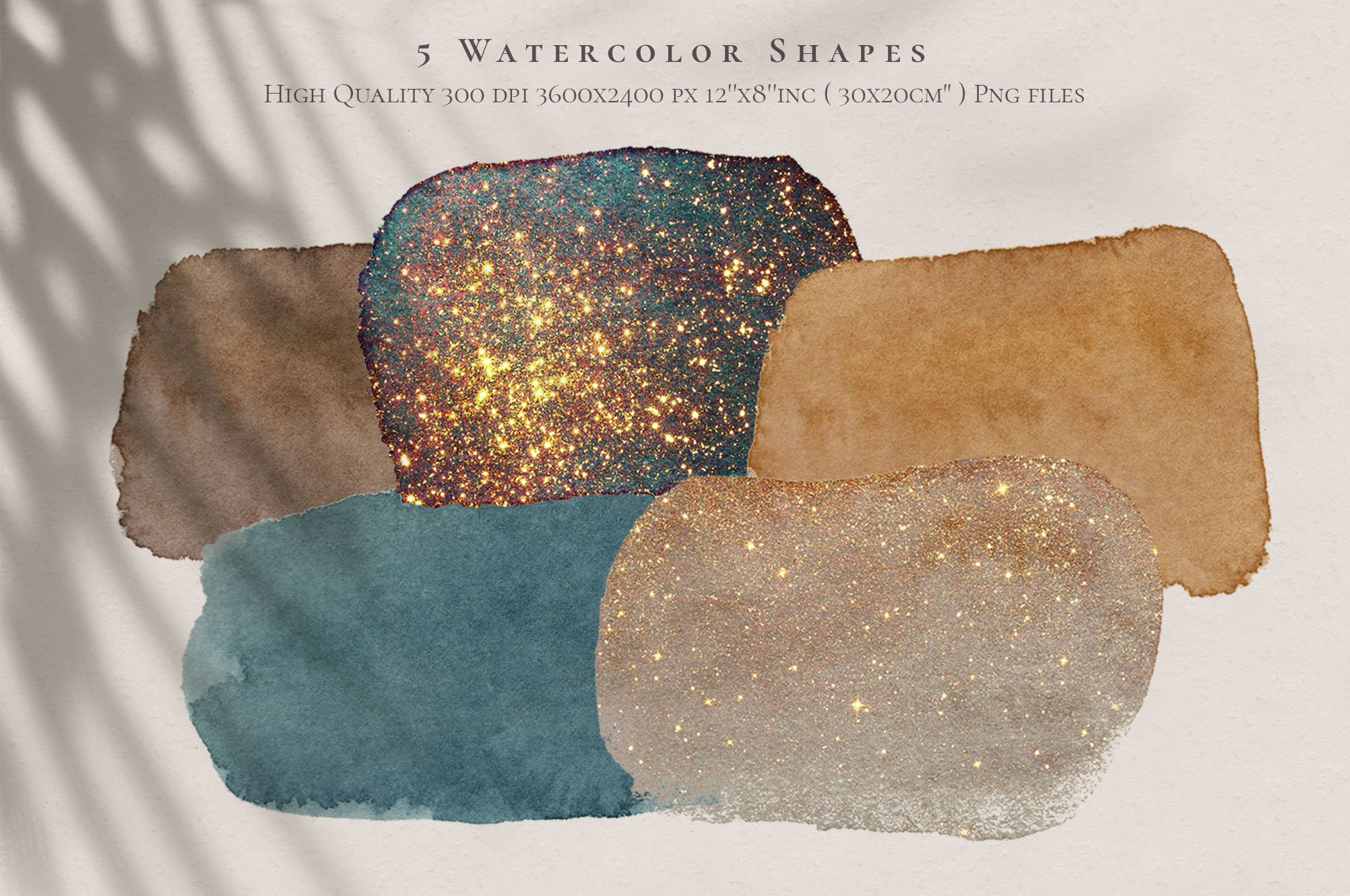Watercolor Shapes & Gold Elements PNG Overlays