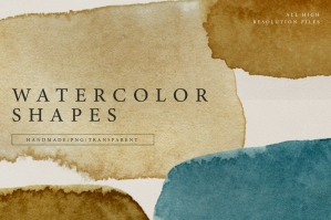 Watercolor Shapes .PNG Overlays 2