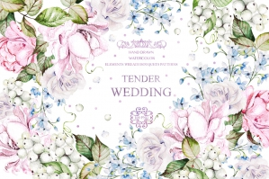 Watercolor Wedding Tender Flowers