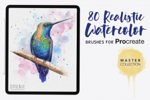80 Realistic Watercolor Brushes for Procreate 5X