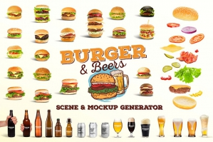 Burger & Beer Mockup and Scene Creator