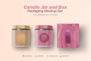 Candle Jar and Box Mockup Set