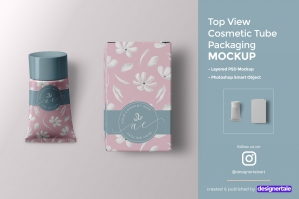 Cosmetic Tube Packaging Mockup