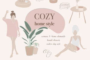 Cozy Home & Abstract Woman Clip Art Scene Creator