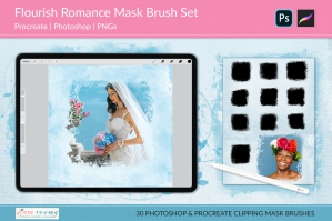 Flourish Romance Overlay Masks Brush Set