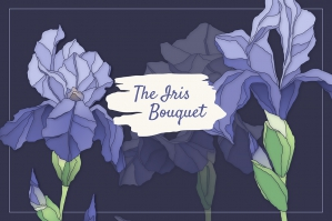 Iris Bouquet Set of Floral Elements