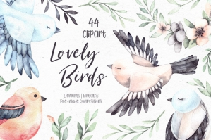 Lovely Birds Watercolor Set of Cute Characters