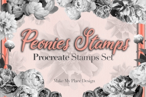 Peony Peonies Flowers Brushes Procreate Stamps Set