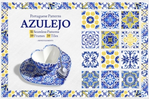 Portuguese Azulejos Watercolor Tiles and Patterns