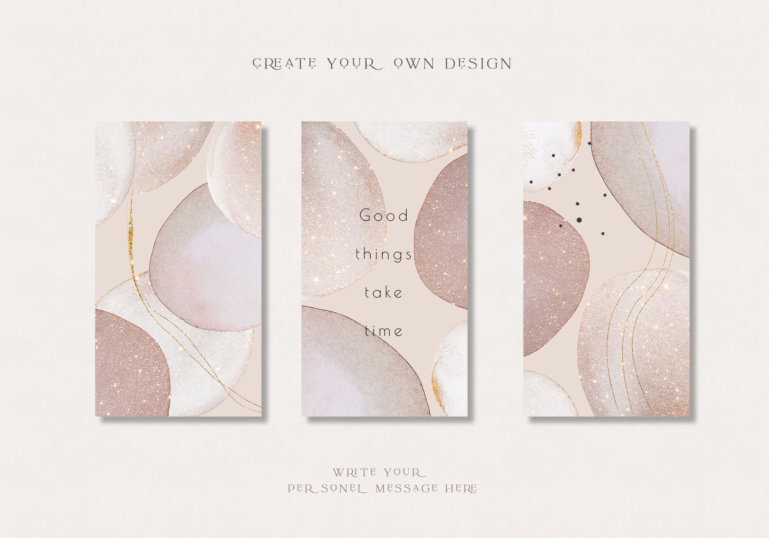 Rose Gold Watercolor Shapes - Deluxe Collection