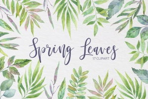 Spring Leaves Watercolor Set