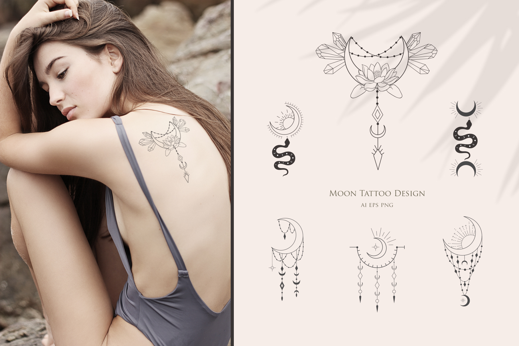 Women & Moon. Floral Logo, Tattoo, Cards, Stickers