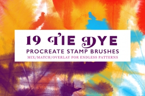 19 Tie Dye Procreate Stamp Brushes