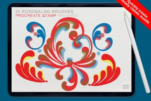 32 Procreate Rosemaling Brushes