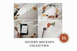 Autumn Mockups, Cards & Fall Leaves