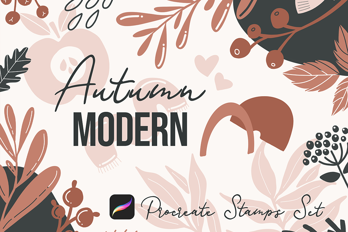 Autumn Modern Shapes Stamps Pack for Procreate