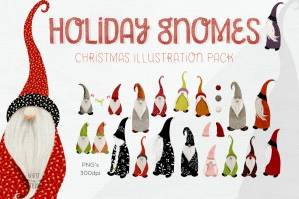 Christmas Holiday Gnome Illustrations Set
