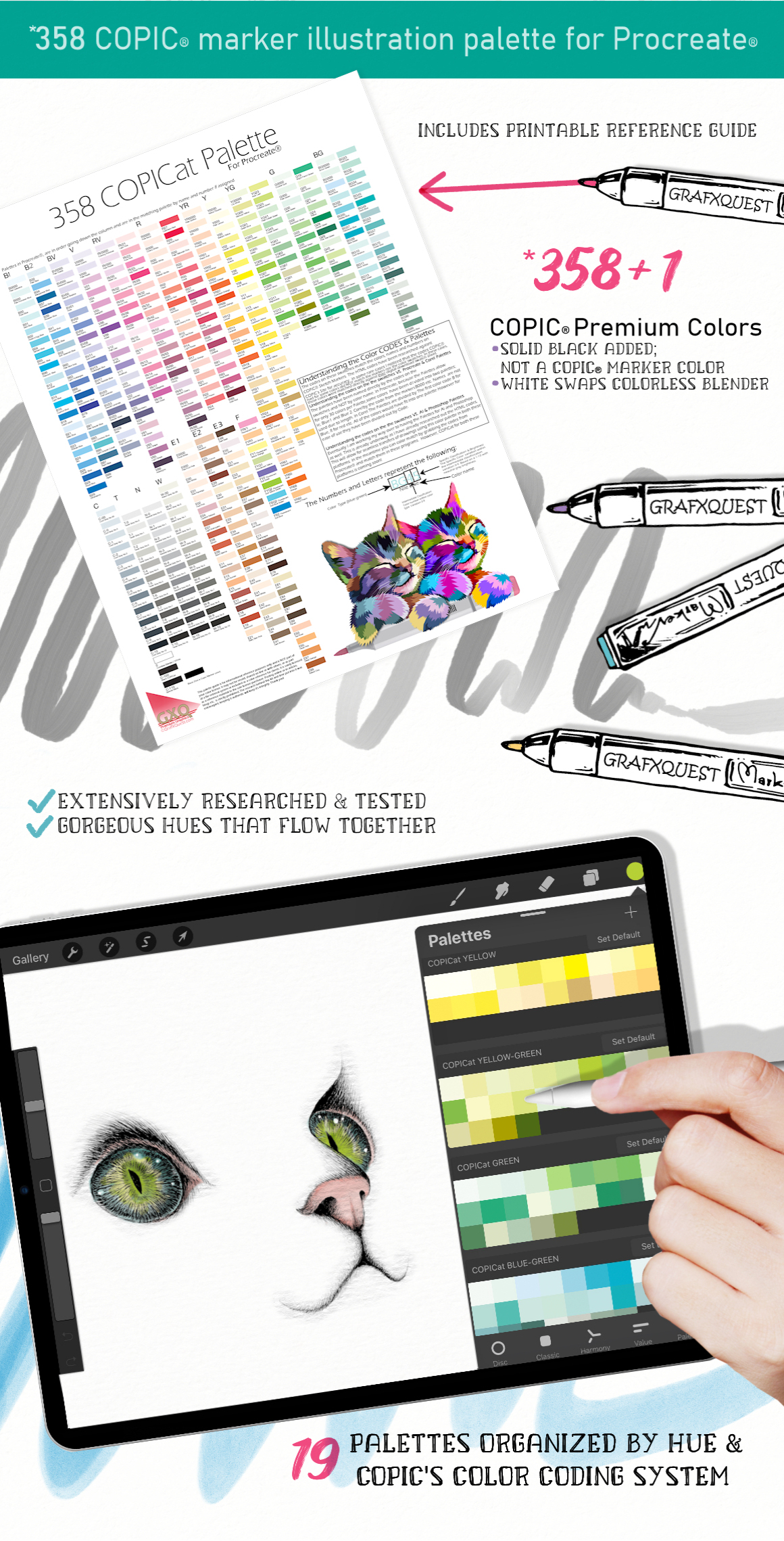 Copicat Procreate Color Palettes & Marker Brushes
