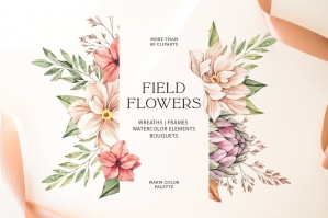 Field Flowers -  Watercolor Floral Set