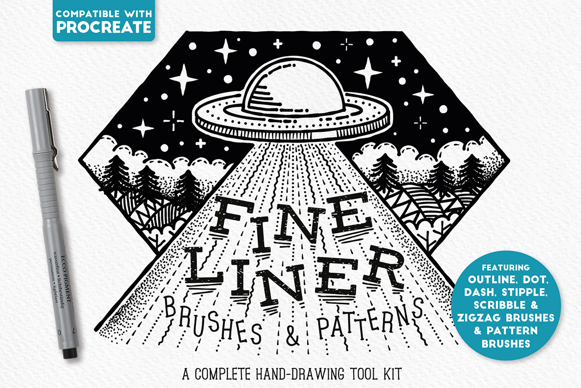 Fine Liner Brushes & Patterns - Procreate