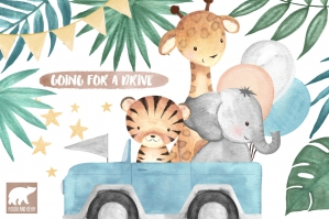 Jungle Animals Going for a Drive