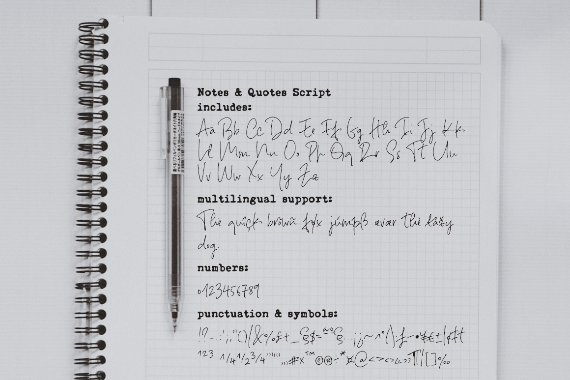 Notes And Quotes Font Duo