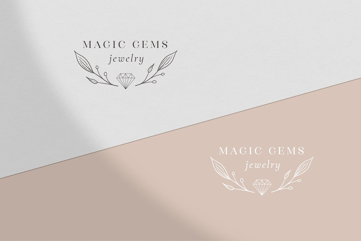 Premade Magic Gems Brand Logo and Packaging Design