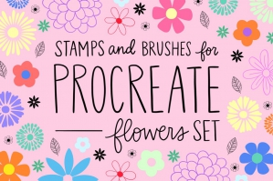 Procreate Stamp Flowers Set