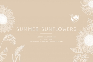 Summer Sunflowers Floral Vector Illustrations