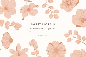 Sweet Florals Colour Vector Illustrations