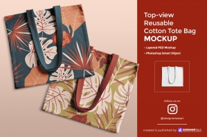 Top-view Reusable Cotton Tote Bag Mockup