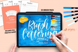 Ultimate Brush Lettering 25 Brush Procreate Pack