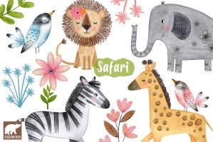 Watercolor Animals, Jungle, Safari