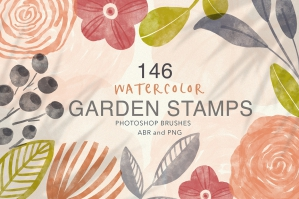Watercolor Garden Photoshop Stamps