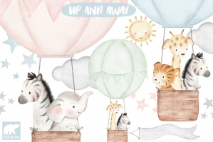 Watercolor Jungle Animals and Hot Air Balloons