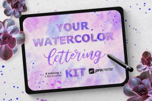 Watercolor Lettering Kit for Procreate