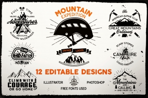 12 Mountain Expedition Logos - Camp Vector Badges
