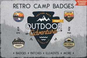 18 Retro Camp Badges / Outdoor Stickers Set