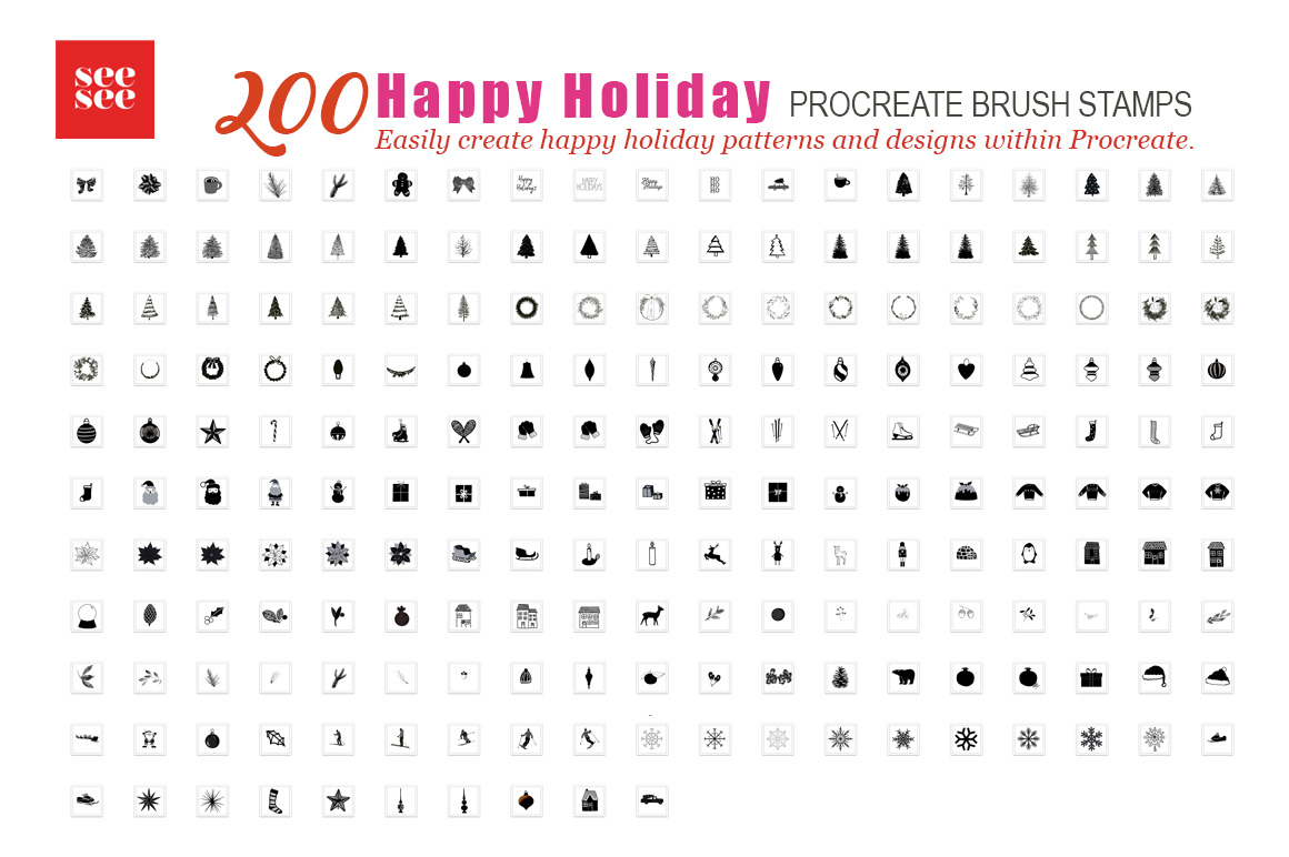 200 Happy Holiday Procreate Brush Stamps