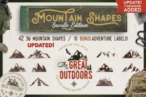 42 Mountain Shapes & 10 Labels Collection