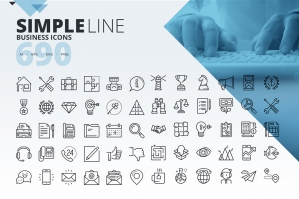 690 Simple Business Line Icons
