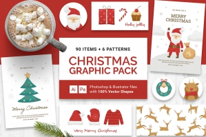 90+ Christmas Vector Graphics Pack in .PSD & Vector