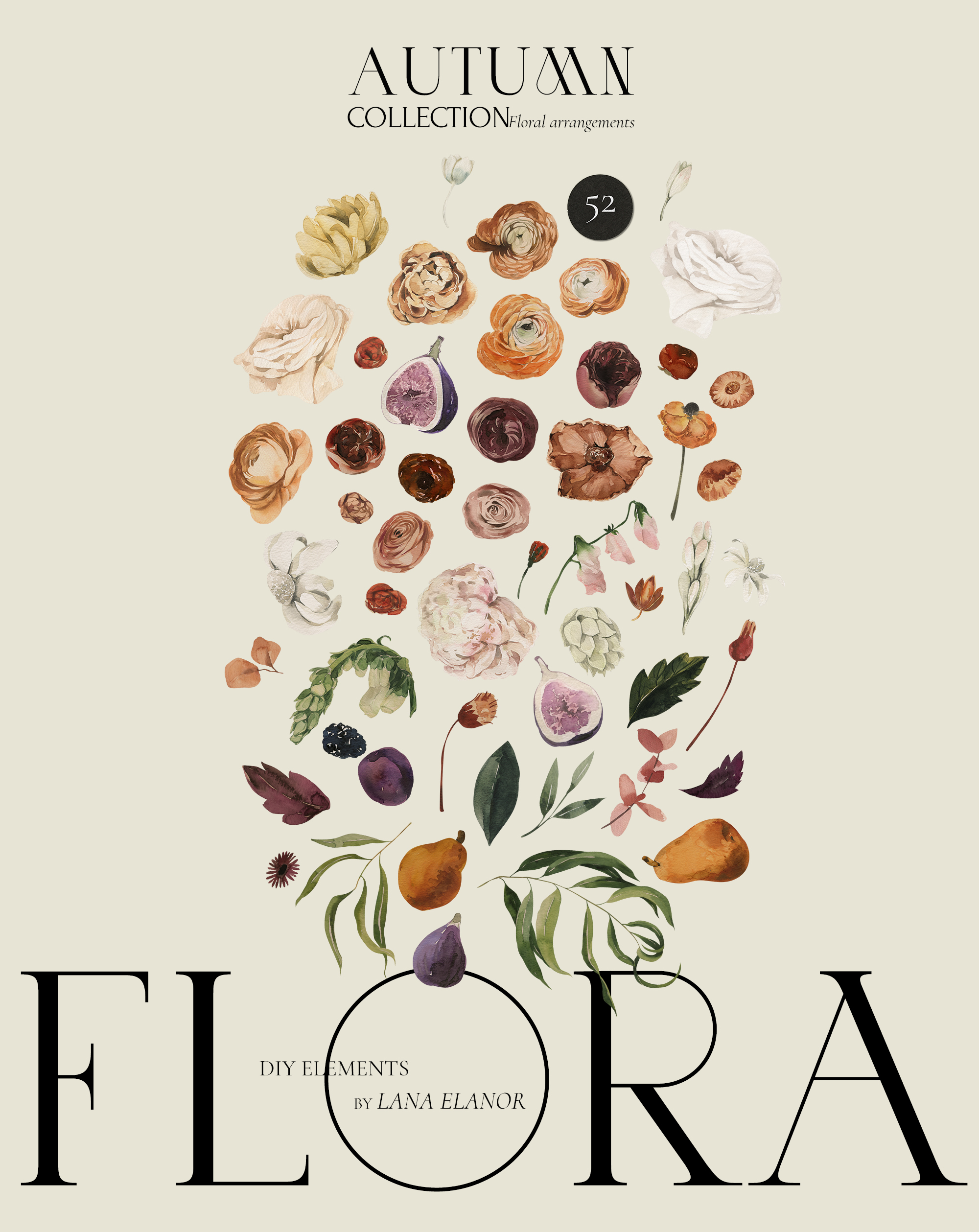 Autumn Flora Fall Watercolor Floral Collection
